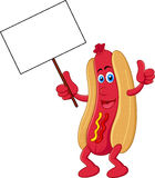 Hot dog cartoon character with blank sign. Illustration of Hot dog cartoon character with blank sign Royalty Free Stock Images