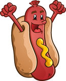 Hot Dog Cartoon Character Celebrating With Excitement. A cheerful hot dog cartoon character celebrating with his fists in the air from excitement Royalty Free Stock Image