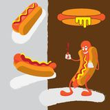 Hot Dog Cartoon Character Squirting Mustard and Ketchup royalty free illustration