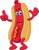 Hot dog cartoon character with thumb up Stock Photography