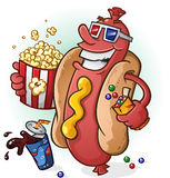 Hot Dog Cartoon At the Movies Royalty Free Stock Photos