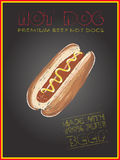 Hot dog on chalkboard background, freehand, vector, illustration Royalty Free Stock Image