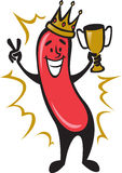 Hot Dog Champion. Illustration of a cartoon hot dog winning a contest/competition. He's holding a trophy and making a V hand sign for victory Royalty Free Stock Photography