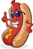 Hot Dog Character With Attitude. A super cool hot dog character with a sly attitude wearing sunglasses Royalty Free Stock Photography