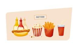 Hot-dog chaud avec différentes sauces, maïs éclaté, fritures de pomme de terre, boisson Photographie stock libre de droits