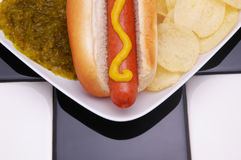 Hot Dog and Chips Stock Photography