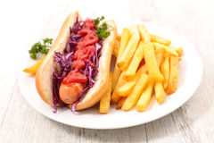 Hot dog with chips Stock Photography