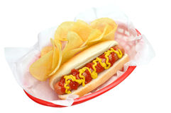 Hot Dog, Chips, Isolated, Clipping Path Royalty Free Stock Photos