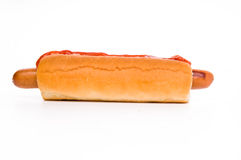 Hot dog classico con ketchup e senape Fotografie Stock
