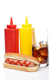 Hot dog and cola glass Royalty Free Stock Photo