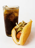 Hot dog and cold cola. Photo of a hot dog and a hot cola Stock Image