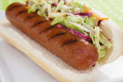 Hot Dog With Cole Slaw Stock Photo