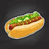 Hot dog, color picture. Simple hot dog with ketchup and mustard and salad image on a black background stock illustration