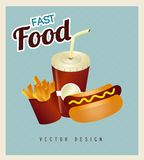 Hot dog combo with french fries and soda Royalty Free Stock Photo