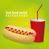 Hot dog combo with soda Stock Image