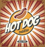 Hot dog comic style promotional retro sign design royalty free illustration