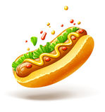 Hot dog con la lattuga e la senape della salsiccia Fotografia Stock Libera da Diritti