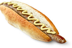 Hot dog con la salsiccia Fotografie Stock