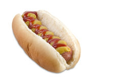Hot dog con la salsiccia, la senape, il ketchup ed il pane Immagini Stock Libere da Diritti