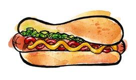 Hot dog con senape, ketchup ed il condimento verde Immagini Stock