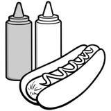 Hot Dog and Condiments Illustration Stock Image