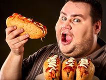 Hot dog contest. Fat man eating fast food hot dog. stock photo