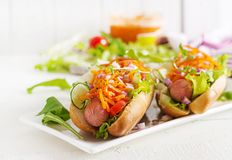 Hot dog with cucumber, carrot, tomato and lettuce. On wooden background. Fast food menu royalty free stock images