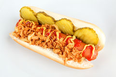 Hot dog with cucumber and onions Stock Photography