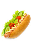 Hot dog with cucumbers Stock Photos