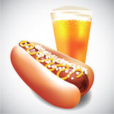 Hot dog and cup of beer Royalty Free Stock Photography