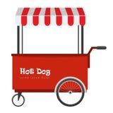 Hot-dog d'aliments de préparation rapide et chariot de hot dog de rue avec la tente illustration libre de droits