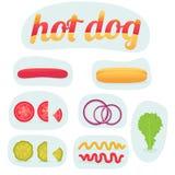 Hot-dog d'impression dans les pièces Images libres de droits