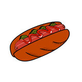 Hot dog de croquis de couleur Photographie stock libre de droits