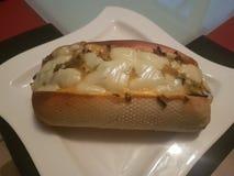 Hot-dog de fromage de /poivron Image libre de droits