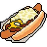 Hot-dog de nourriture d'art de pixel de vecteur Photo stock