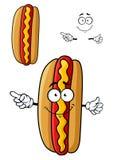 Hot-dog de sourire de Cartooned pour la conception d'aliments de préparation rapide Photo stock