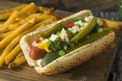 Hot-dog de style fait maison de Chicago avec de la moutarde image stock