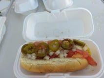 Hot-dog de Veggie avec des jalapenos Photo stock