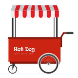 Hot dog degli alimenti a rapida preparazione e carretto dell'hot dog della via con la tenda Immagine Stock