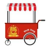 Hot dog degli alimenti a rapida preparazione e carretto dell'hot dog della via con la tenda Fotografia Stock Libera da Diritti