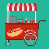 Hot dog degli alimenti a rapida preparazione e carretto dell'hot dog della via con la tenda Fotografie Stock