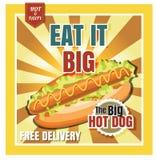 Hot dog del menu degli alimenti a rapida preparazione del ristorante sul bello vecto del fondo Immagine Stock