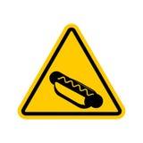Hot dog di attenzione I pericoli del segnale stradale giallo Alimenti a rapida preparazione Cautio Immagini Stock