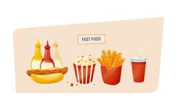 Hot hot dog with different sauces, popcorn, potato fries, drink. Fast food concept. Set of delicious food, sauces and drinks from fast food. Hot hot dog with Royalty Free Stock Photography