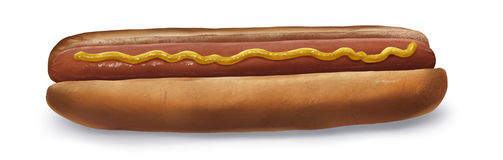Hot Dog - Digital Painting. Illustration of a hot dog on a bun with mustard Stock Photo