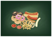 Hot Dog, Donut, French Fries and Onion Ring on Chalkboard Royalty Free Stock Images