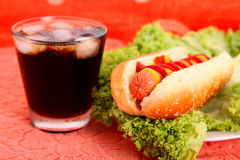 Hot dog and drink Stock Images