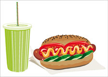 Hot dog and drink Stock Photos