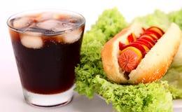 Hot dog e bevanda fotografia stock libera da diritti