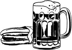 Hot dog e birra di radice illustrazione di stock